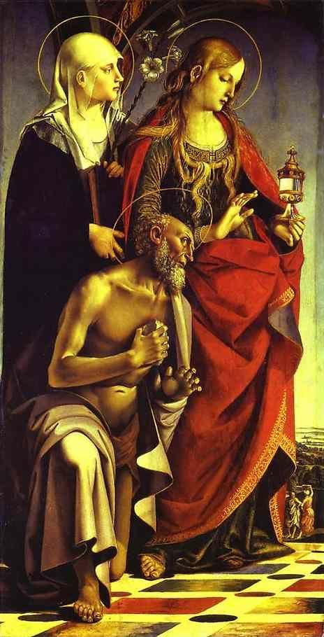 Luca Signorelli. SS. Catherine of Siena, Mary Magdalene and Jerome. Left wing of the St.Agosino Altarpiece.