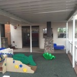 The toddler play area is safe and covered for your children.