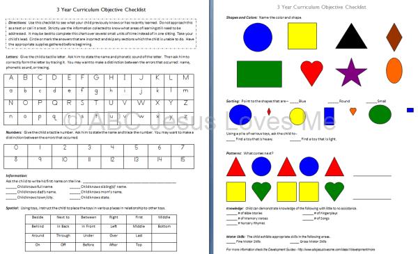 Toddler and Preschool Objective Checklist   ABCJesusLovesMe