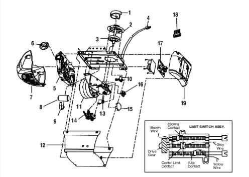 Model 3245, 3255 Chain Drive Opener Motorhead Parts Diagram