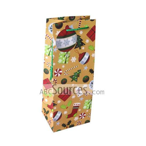 wholesale Light Yellow Christmas Wine Paper Bag With