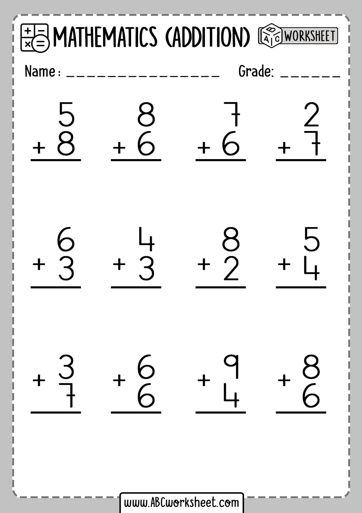 Addition Worksheet First Grade