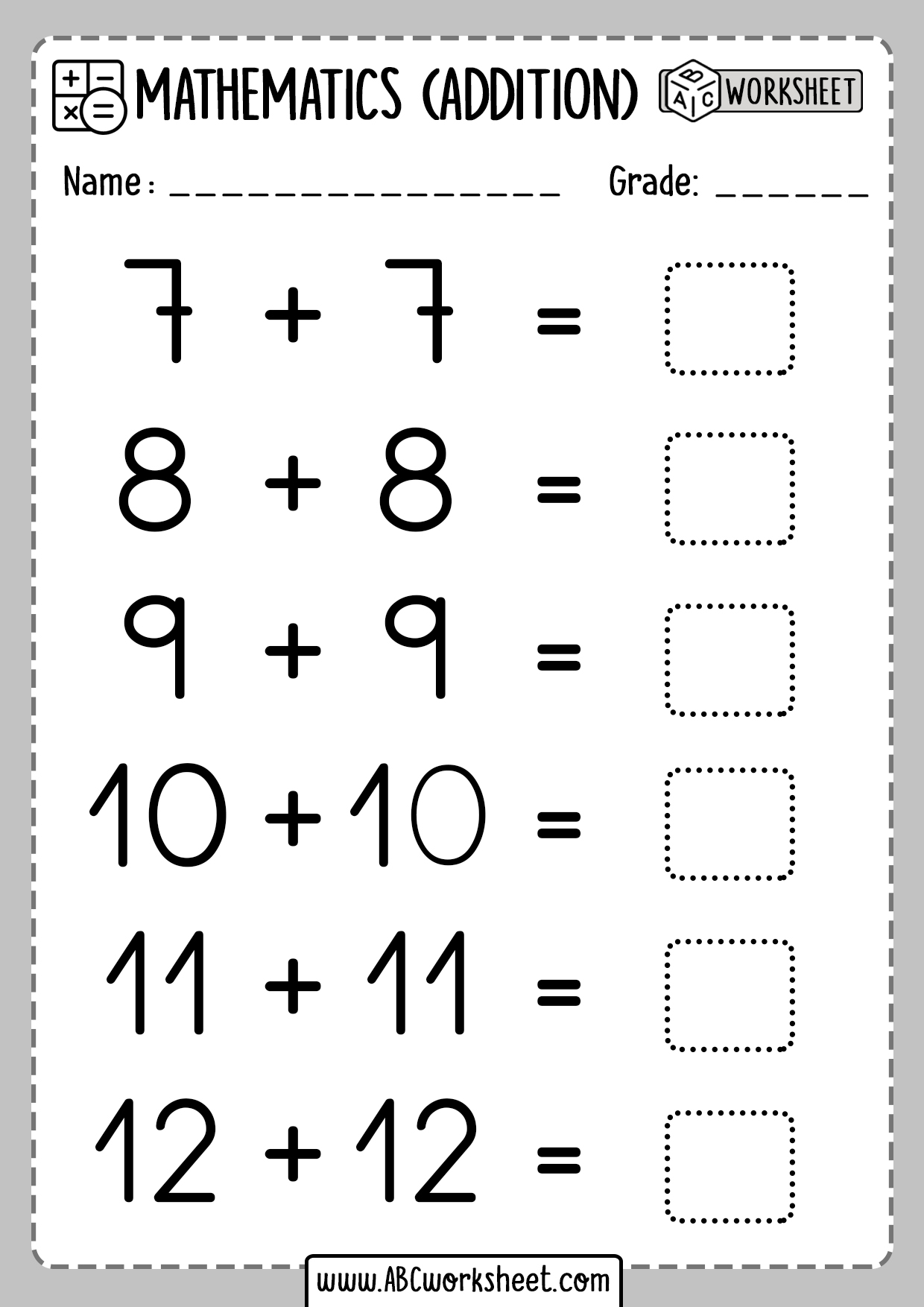 Printable Addition Doubles Worksheet