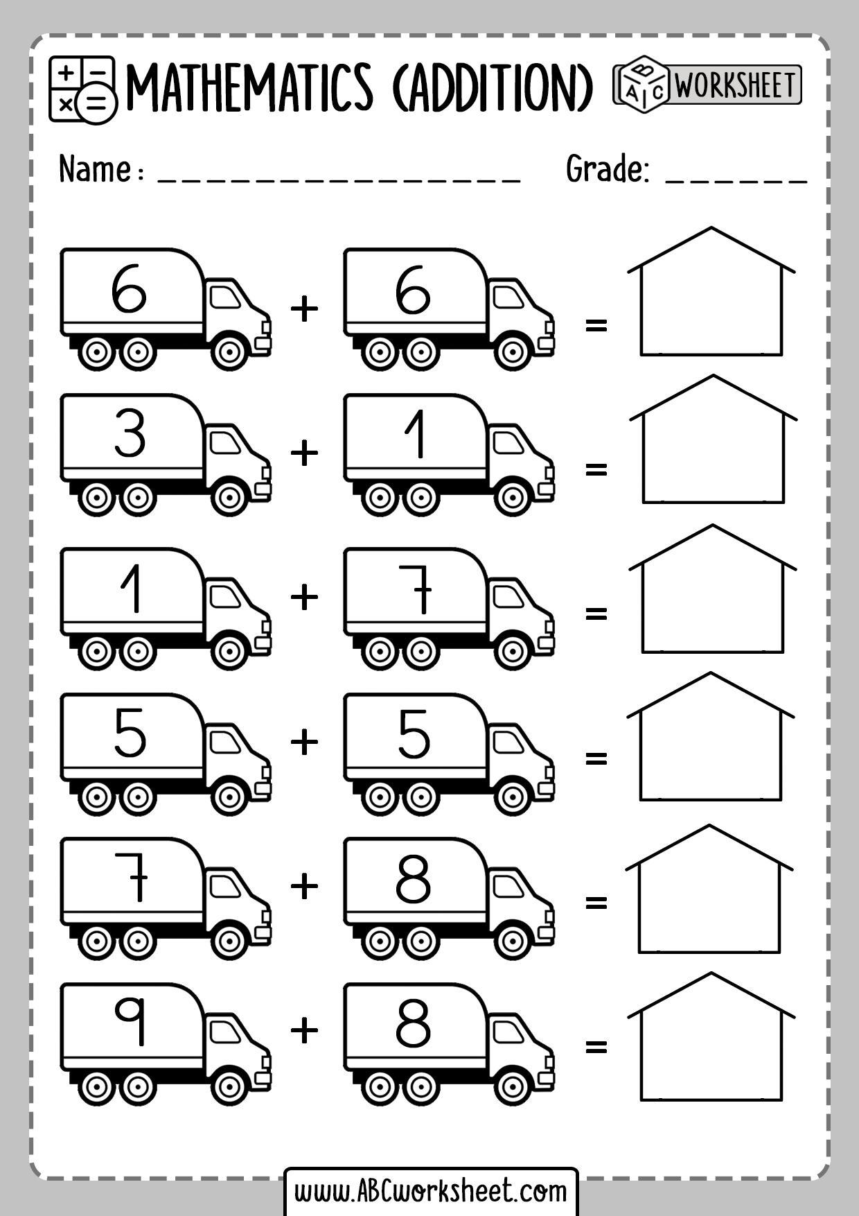 Easter Kindergarten Addition Worksheets