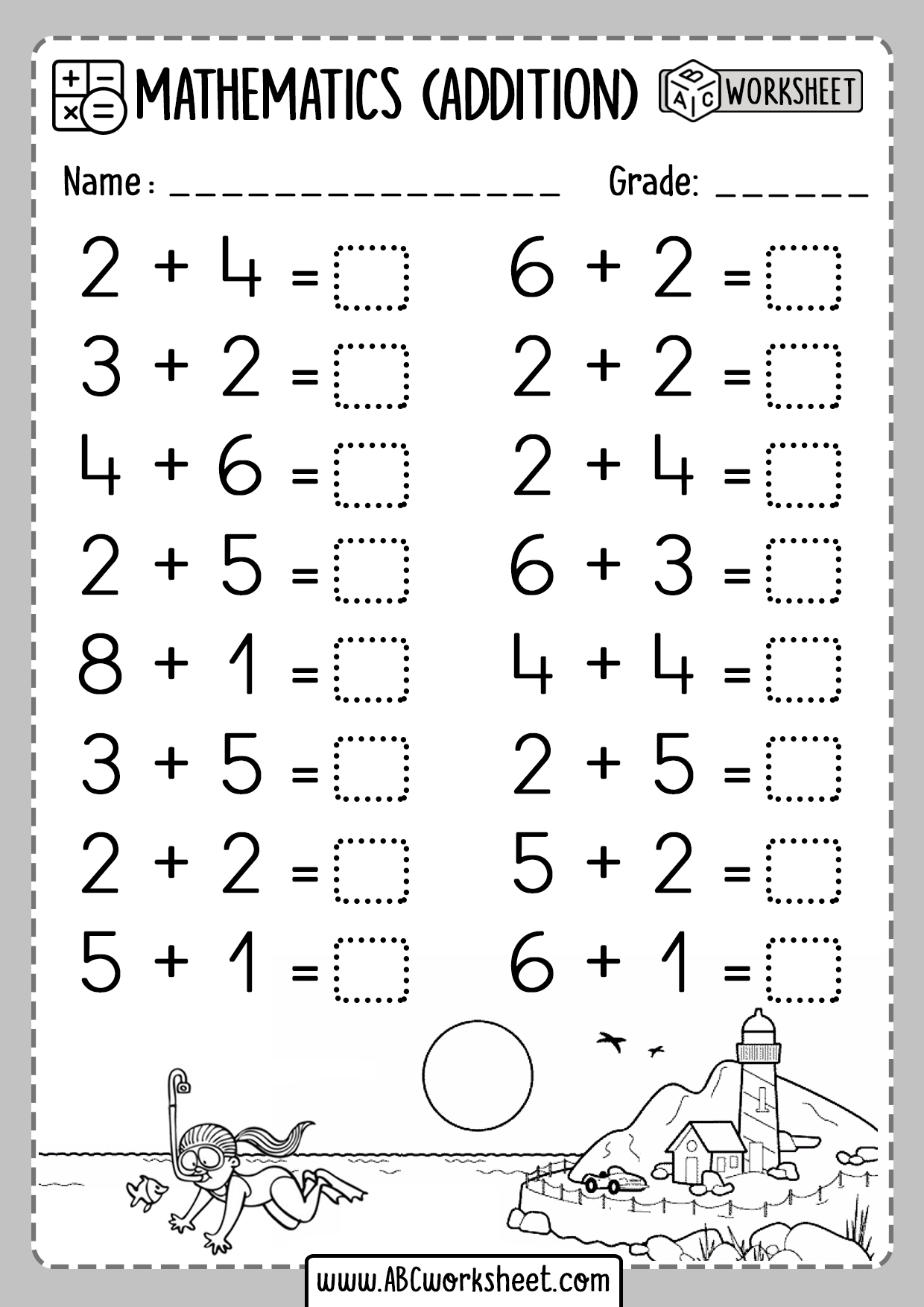 Kindergarten Addition Worksheets 1 Digit