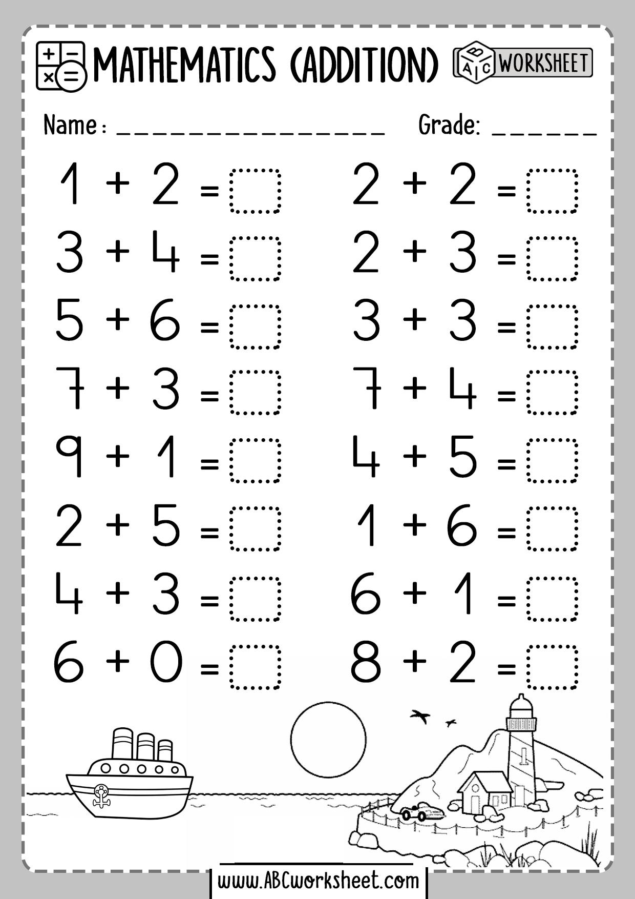 One 1 Digit Addition Worksheets