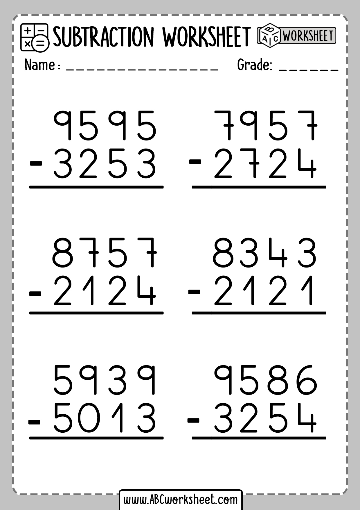 4 Digit Subtraction Worksheet