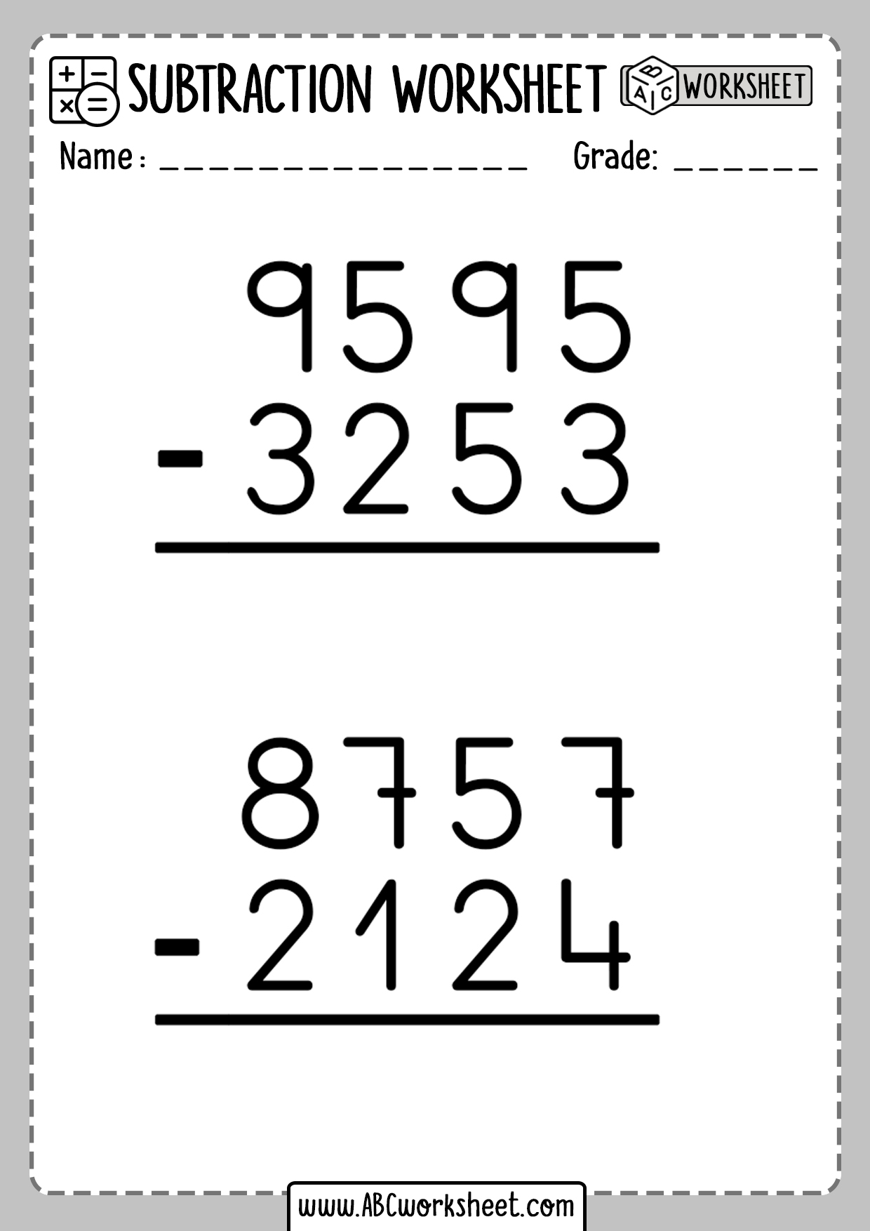 4 Digit Subtraction Without Regrouping
