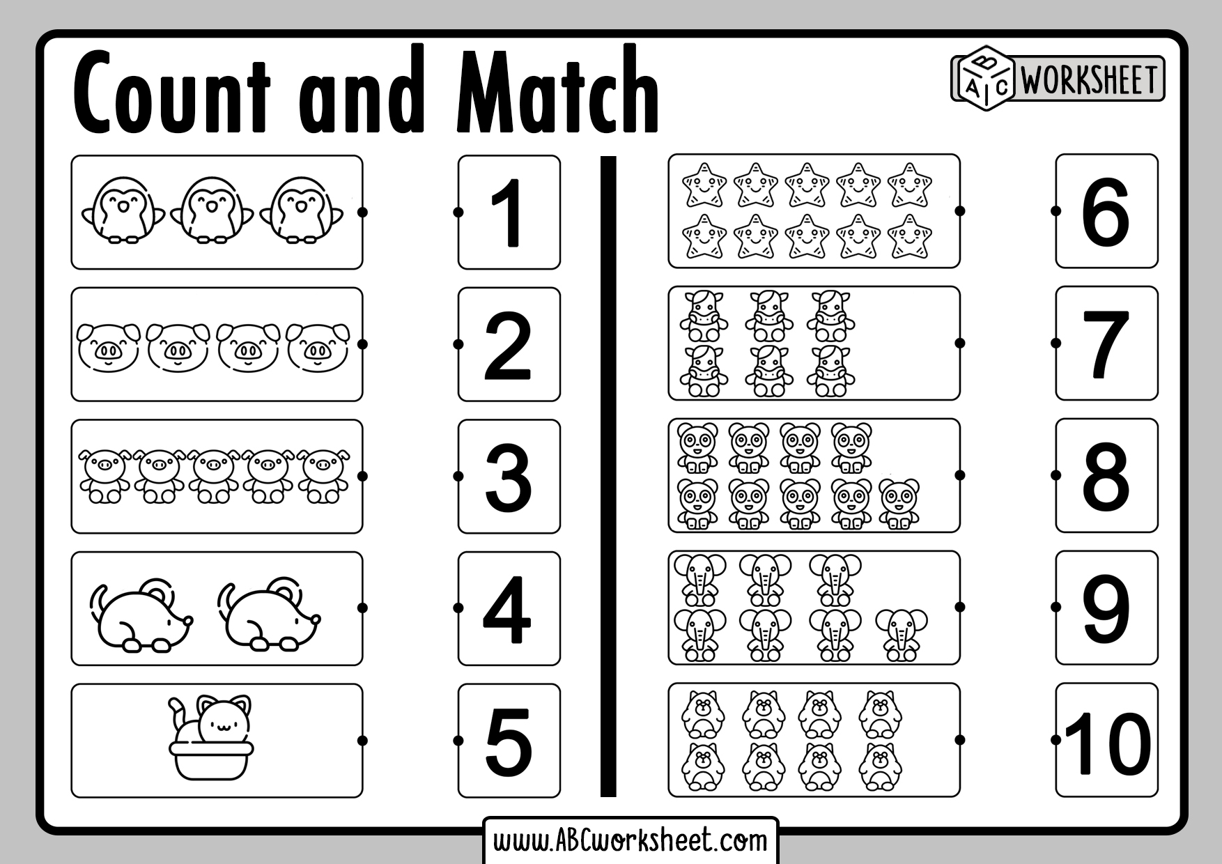 Count And Match Numbers Worksheets For Kids