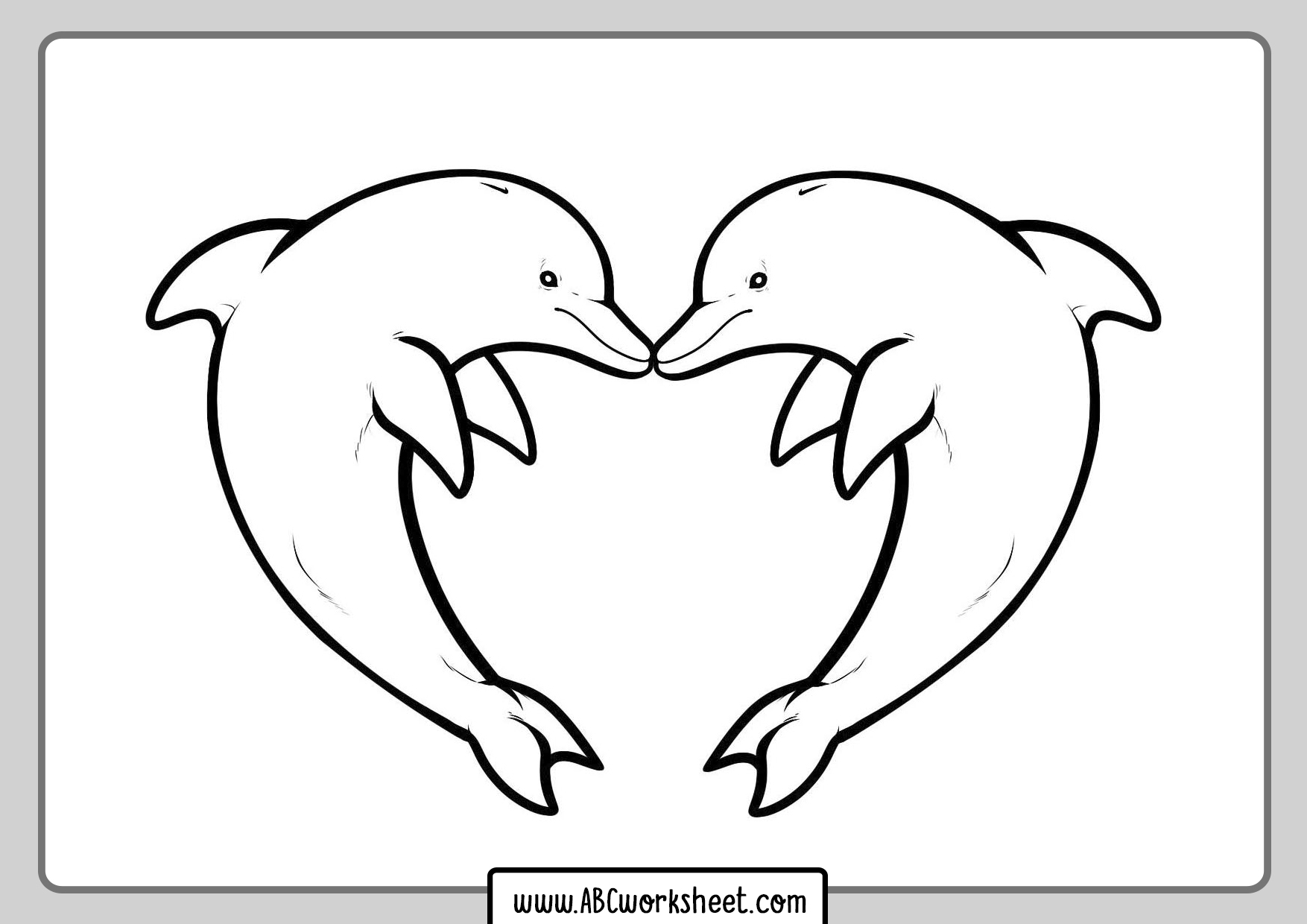 Hearts Dolphins Coloring Pages