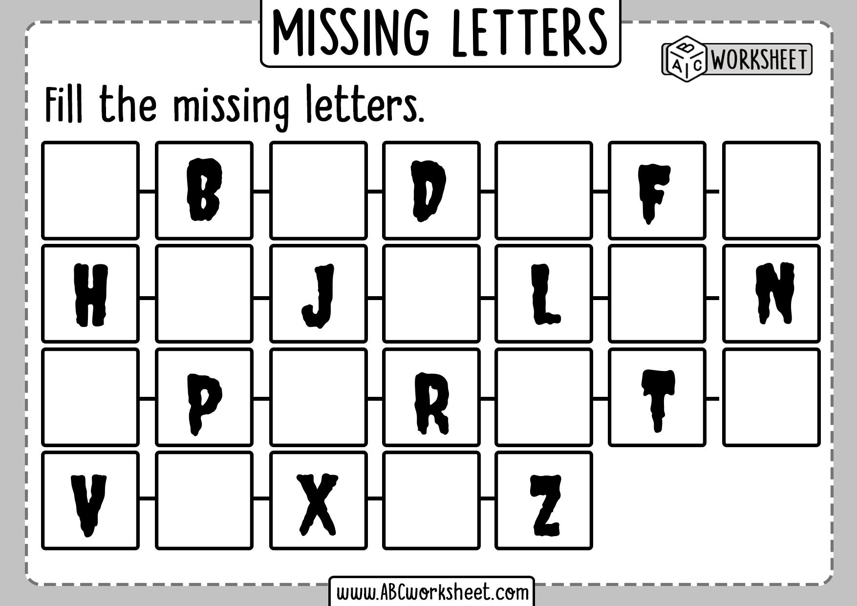 Missing Letters Worksheet For Grade 1