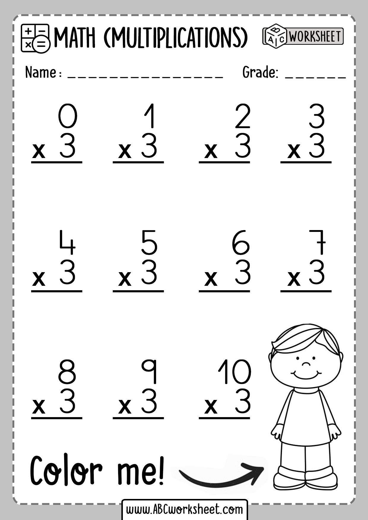 Multiplication Worksheets Number 3 Three