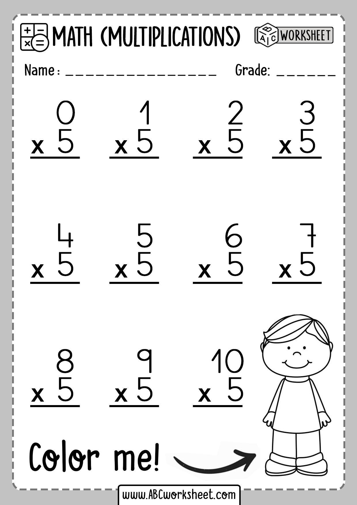 Multiplication Worksheets Number 5 Five