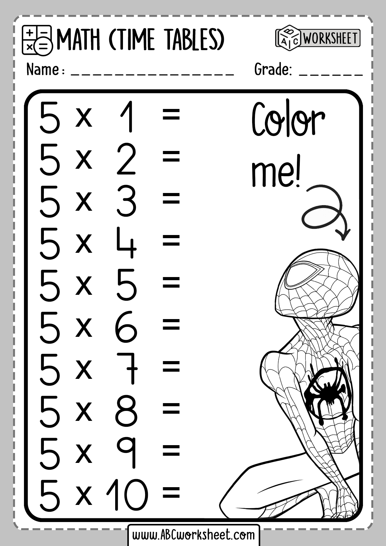 Printable Multiplication Times Tables Worksheets