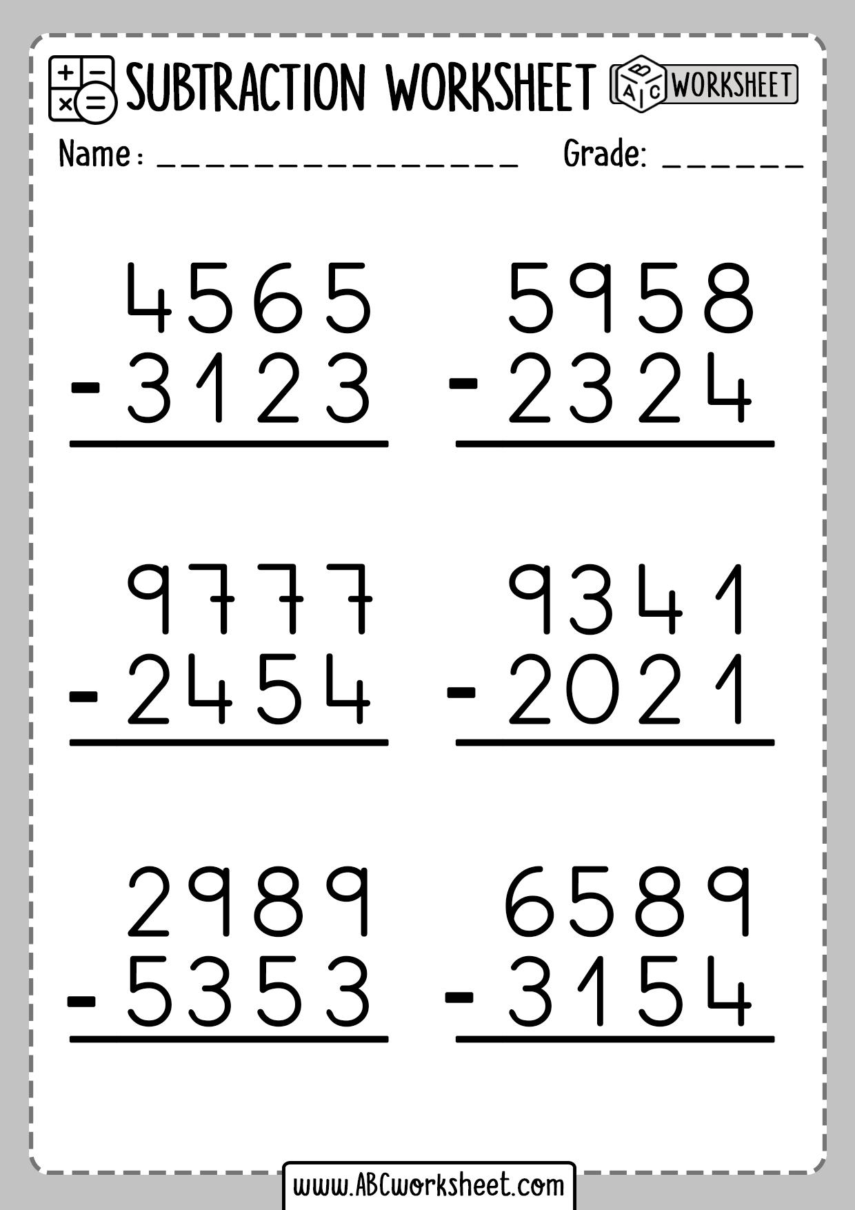 Subtraction No Regrouping Printable Worksheets