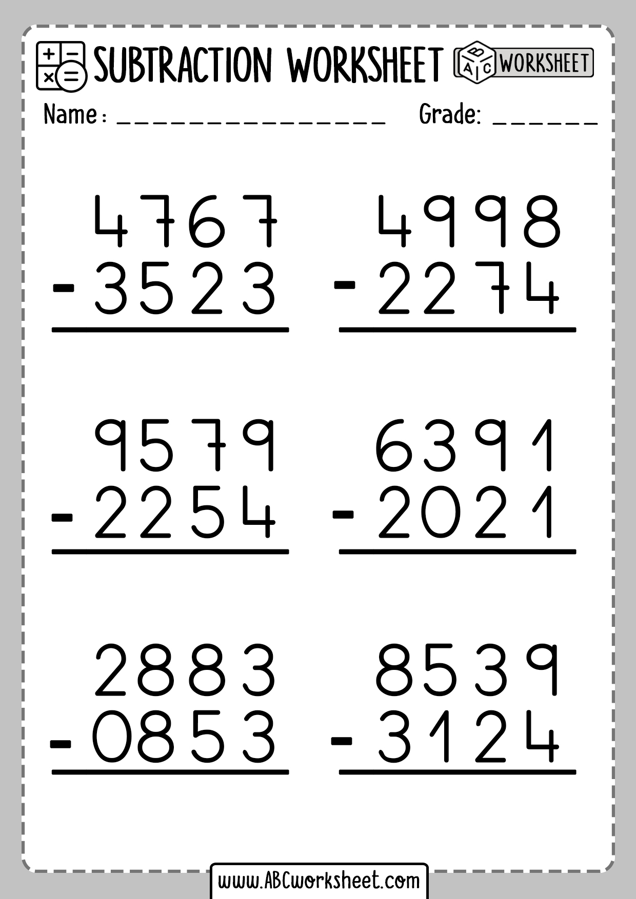 hight resolution of Subtraction Worksheets Without Borrowing   Printable Worksheets and  Activities for Teachers