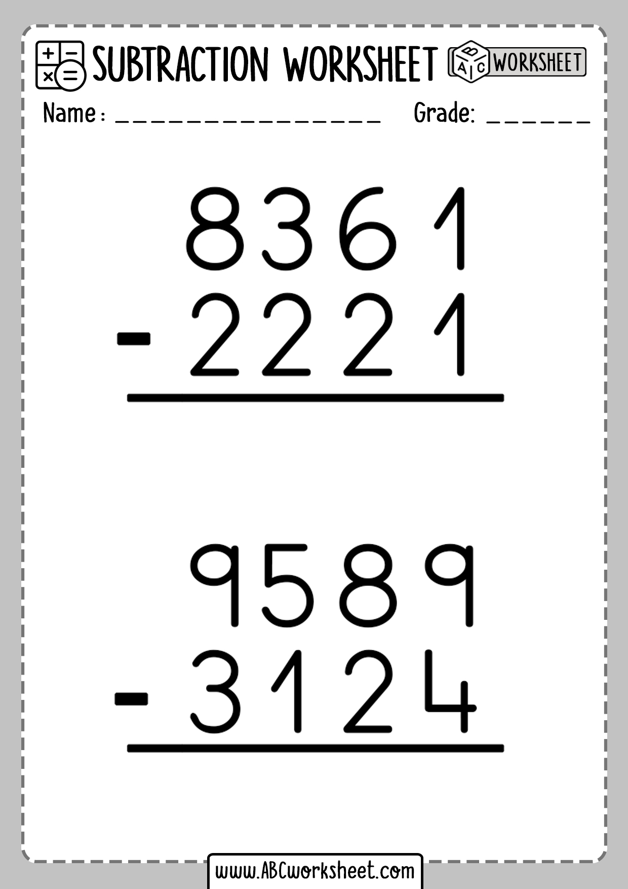 Subtraction Worksheets Without Borrowing