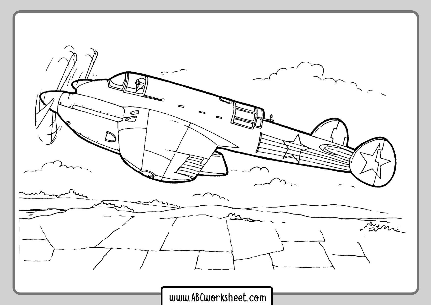 2ww Airplane Coloring Page