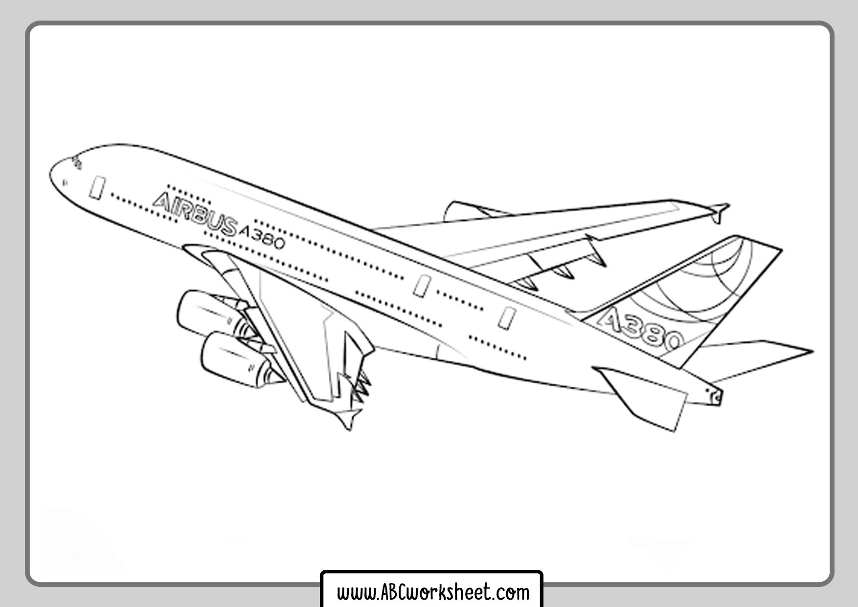 Airbus Airplane Coloring Page