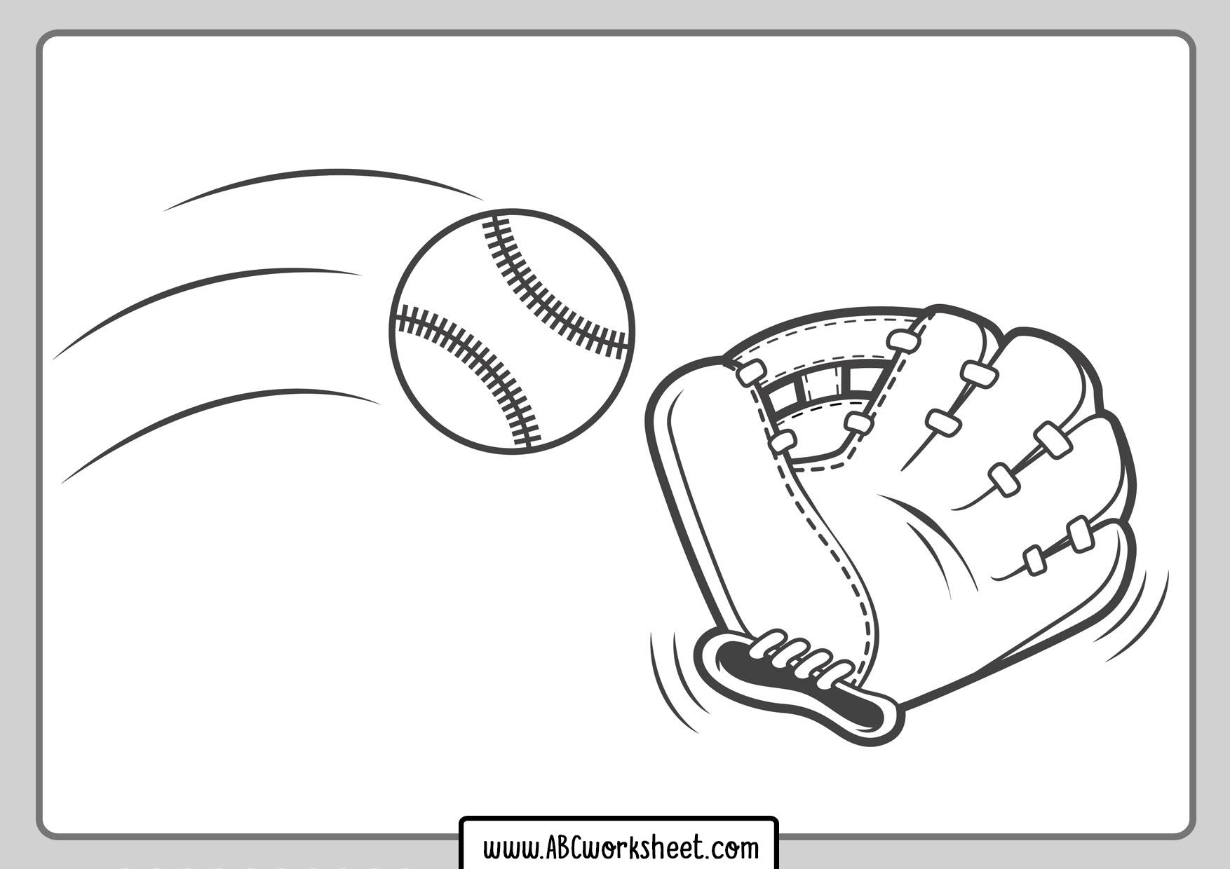Baseball Glove And Ball Coloring Page