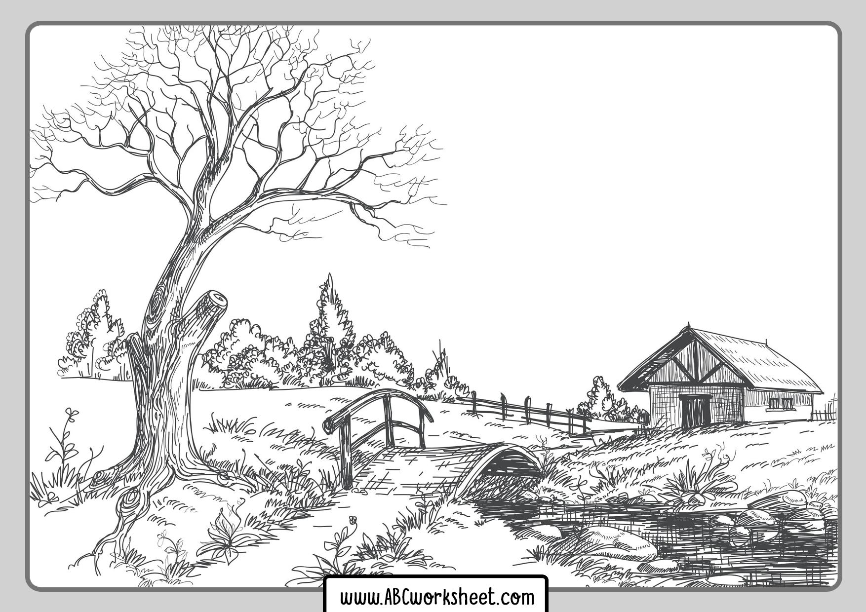 Farm Landscape Coloring Page