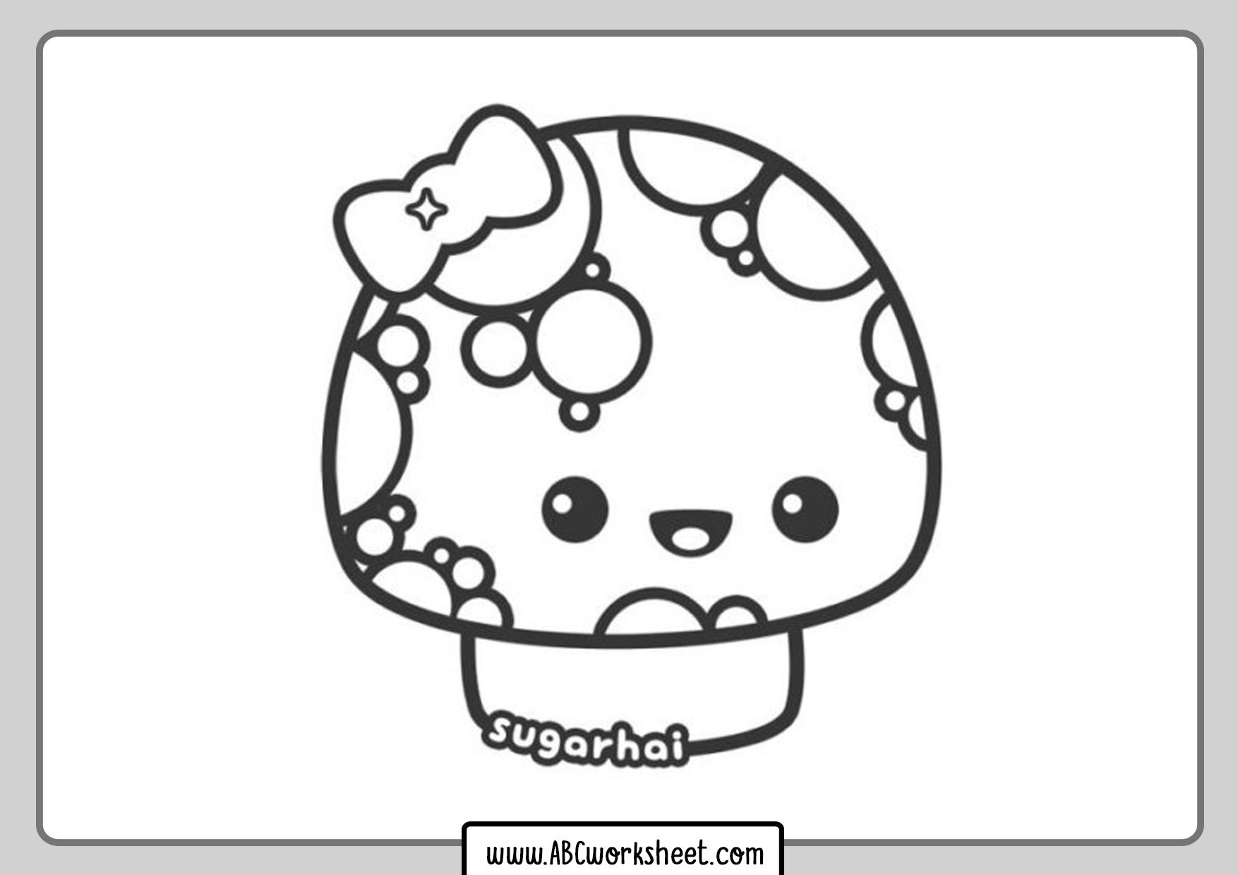 Fungus Kawaii Coloring Page