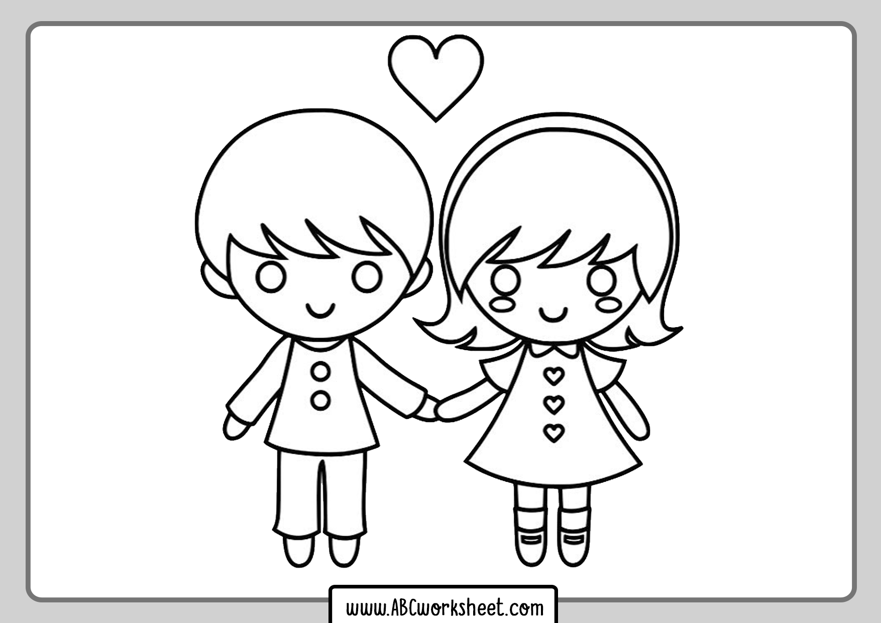 In Love Kids Coloring Page