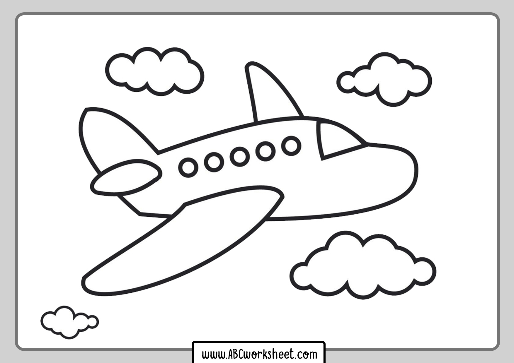 Kindergarten Airplane Coloring Page