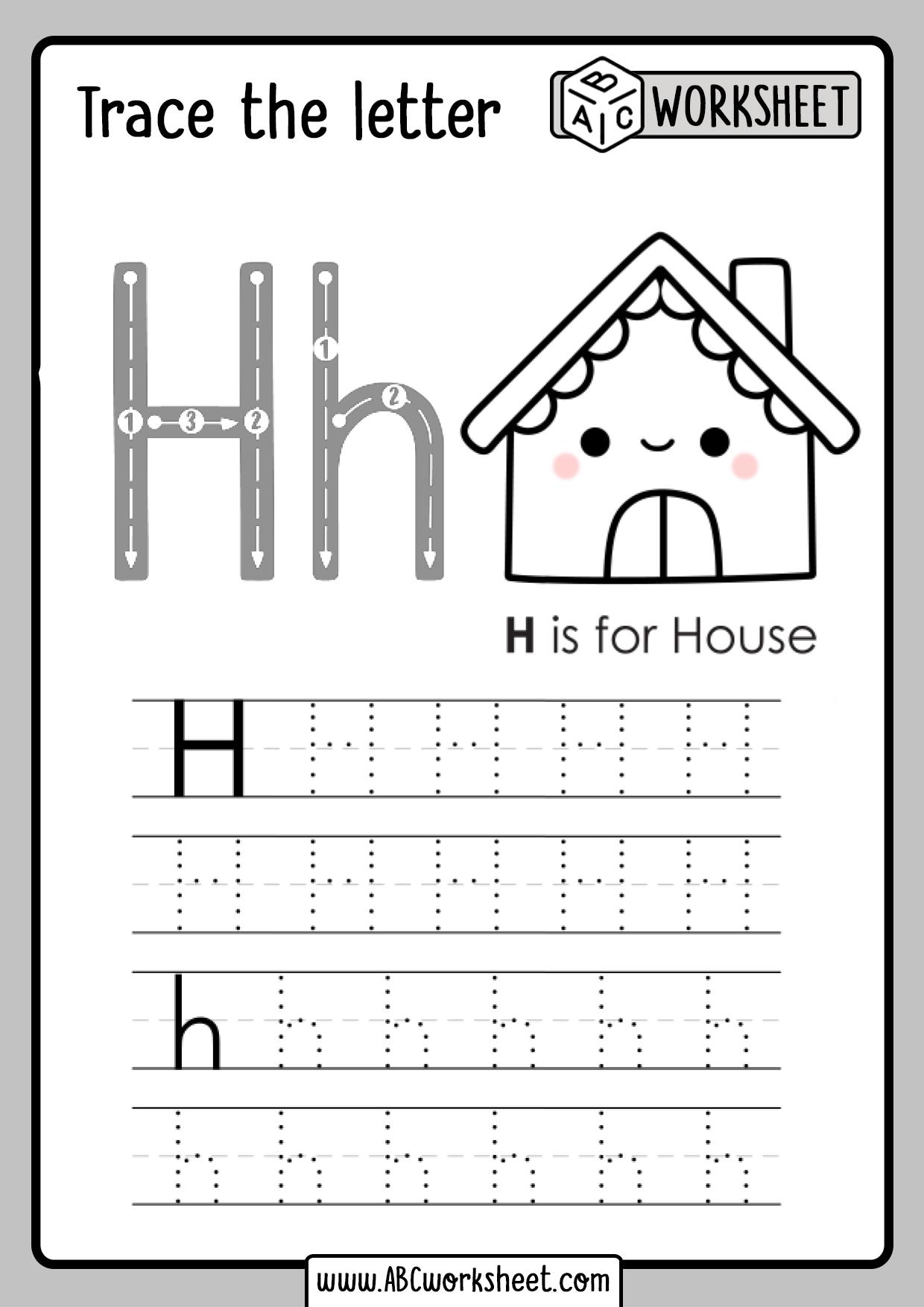 Letter H Tracing Worksheet