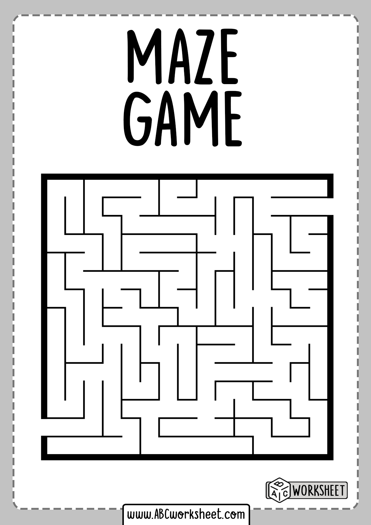 Maze Puzzle Worksheets For Kids