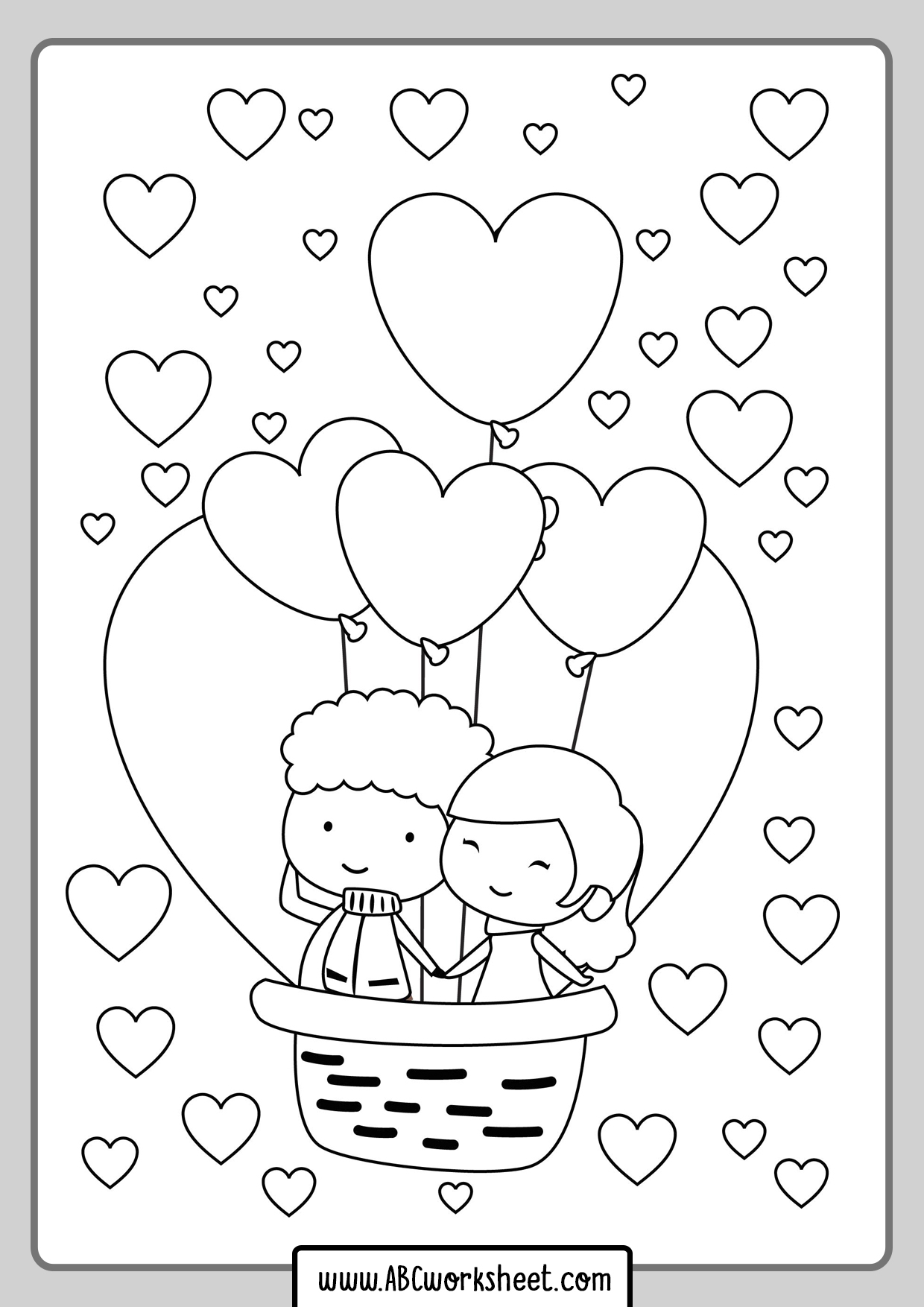 Printable Couple In Love Coloring Page