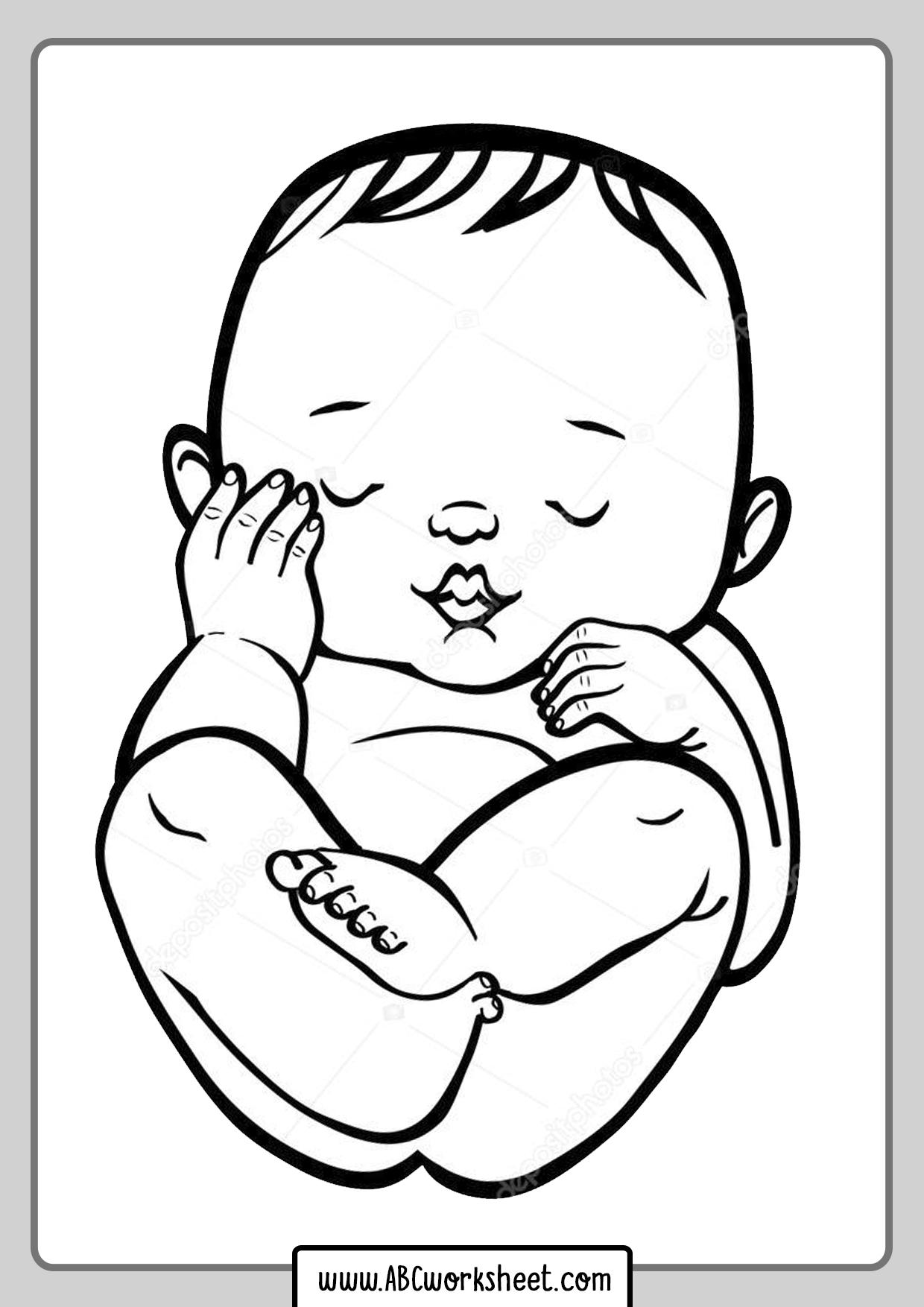 Sleeping Babie Coloring Page