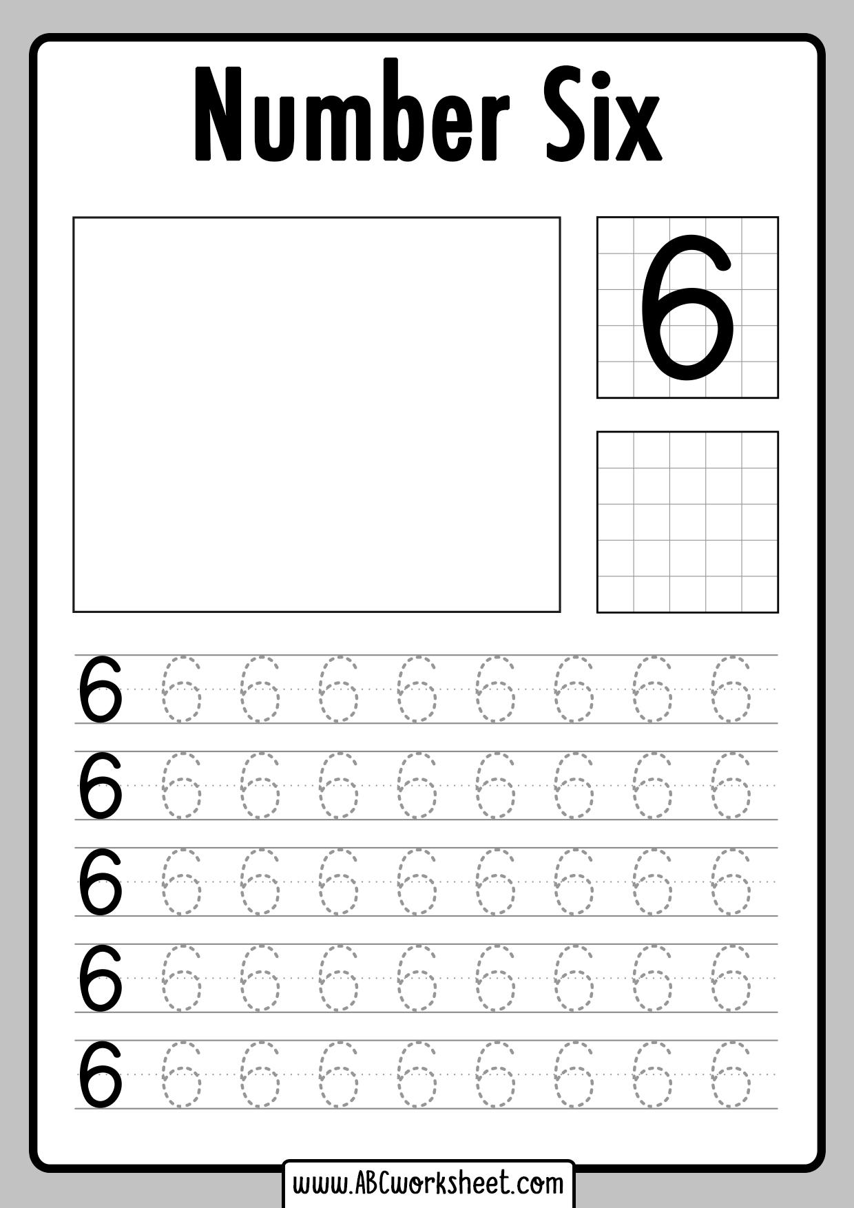 Tracing Number 6 Worksheet