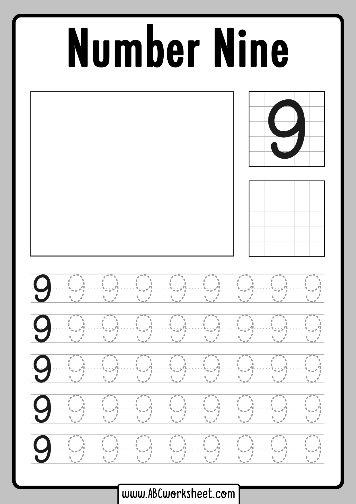 Tracing Number 9 Worksheet