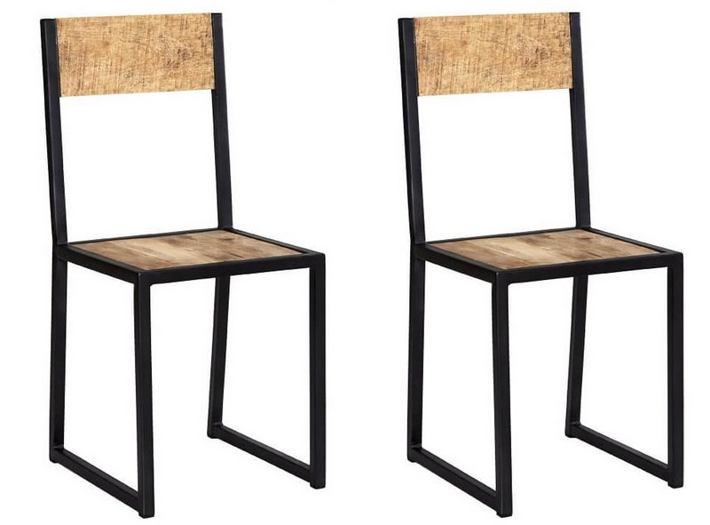 Abdabs Furniture Cosmo Industrial Metal Wood Dining Chairs Pair
