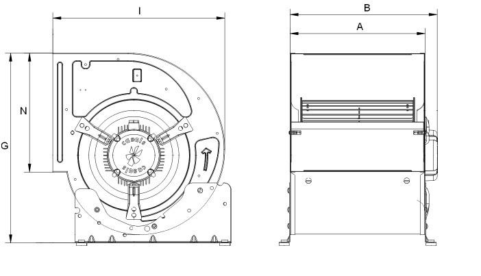VENTILATEUR CENTRIFUGE BD9/7 M4 0.35KW 3V