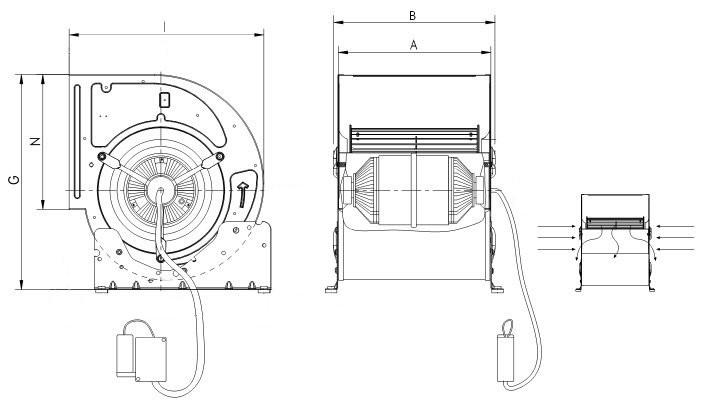 Single-phase centrifugal fan type BDE