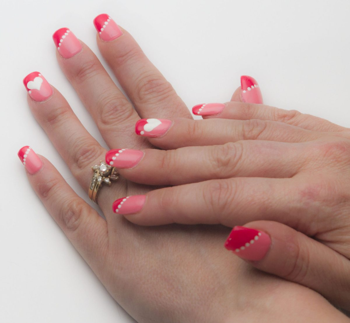 Coral And Pink Color Block Nails