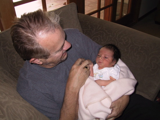 Dad holding second grandson (2001)