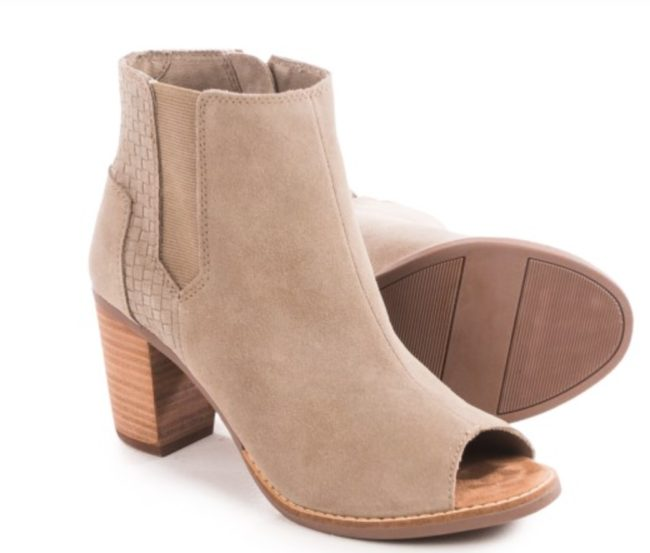 TOMS Majorca Peep Toe Ankle Boots - Suede
