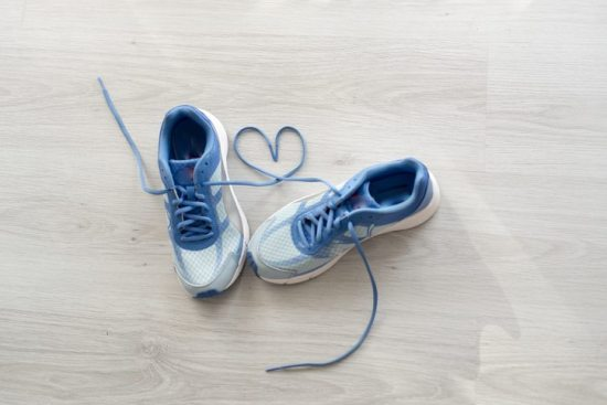tennis shoes and extra steps healthy habits