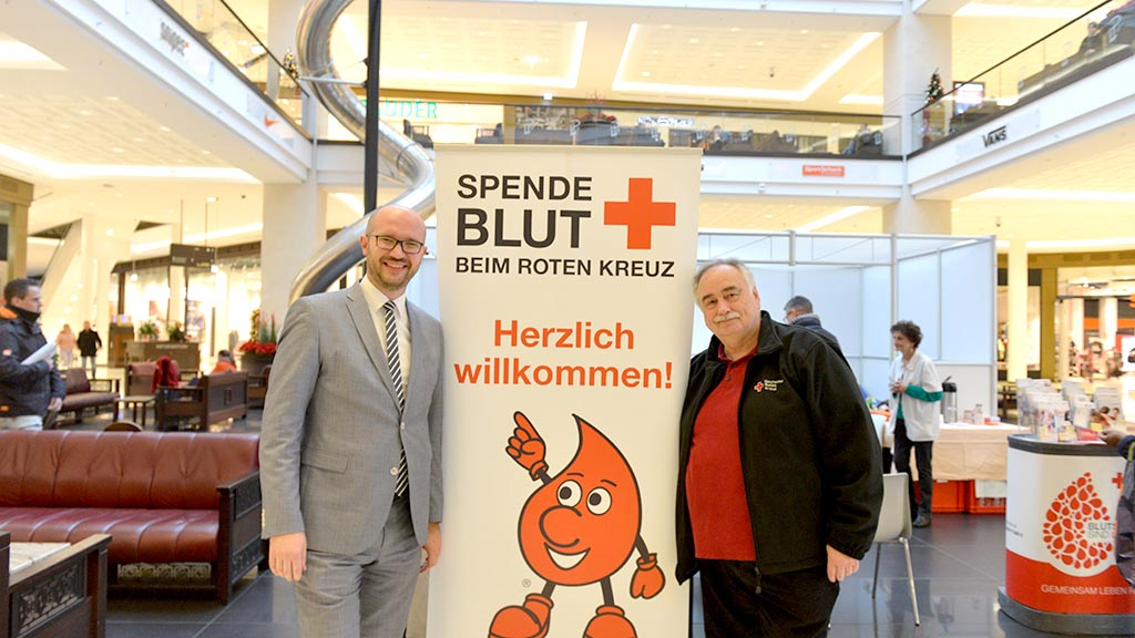Blutspenden in der Shopping-Mall