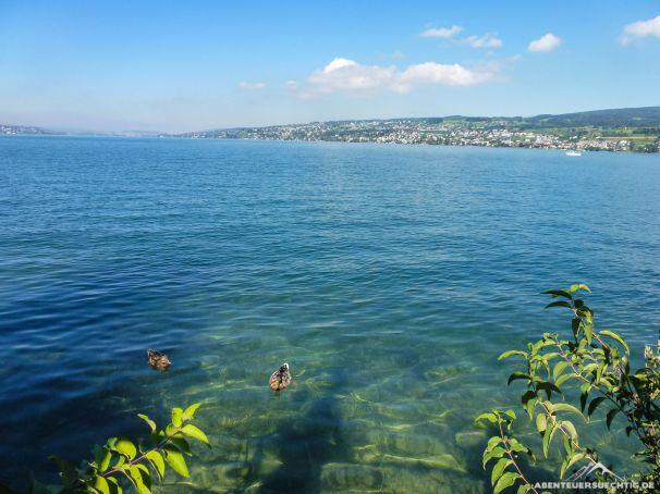 Kurze Pause am Zürichsee bei bestem Septemberwetter