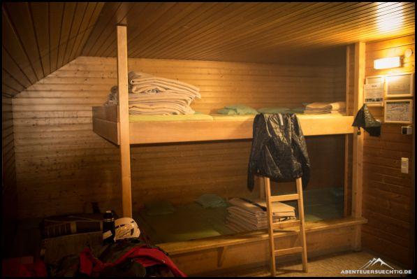Der Winterraum der Fiderepaßhütte