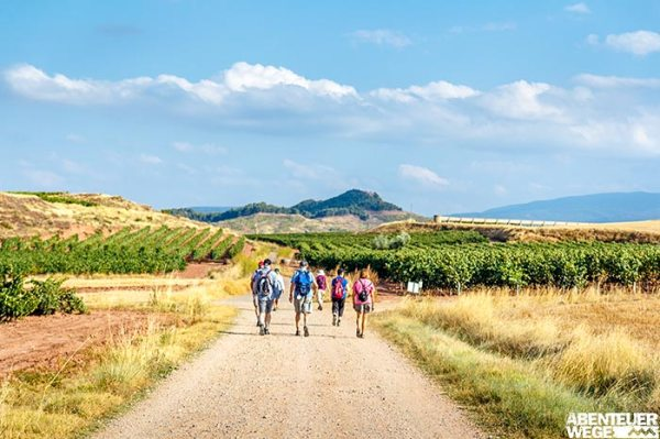 Pilger auf dem Jakobsweg nach Santiago de Compostela