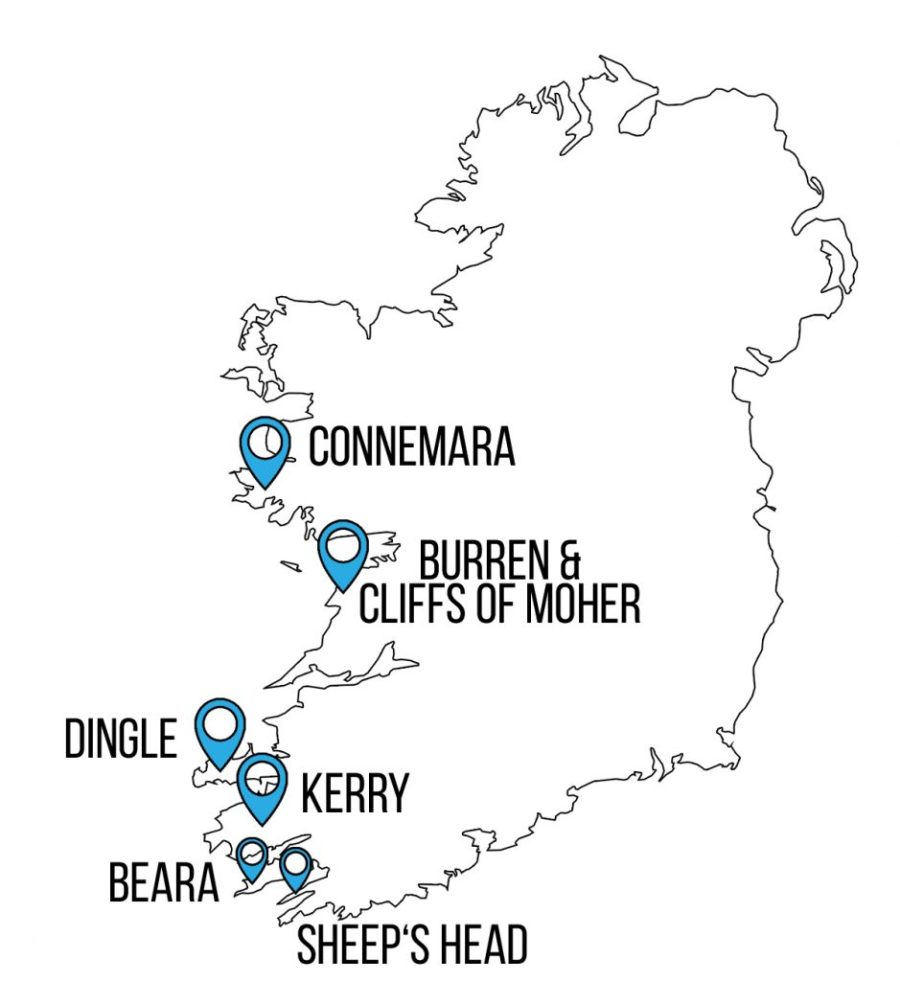 Übersichtskarte Wanderungen in Irland