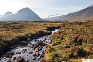 Glencoe Blick auf Blackmount in den schottischen Highlands