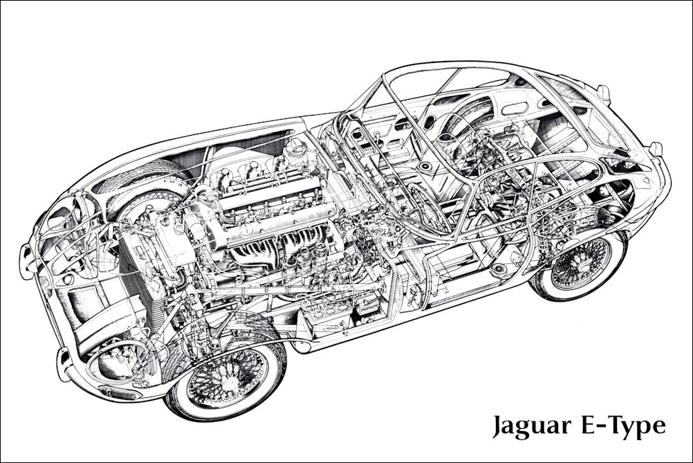 Jaguar E-Type Cutaway Drawing Art Print Poster 24