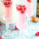 Raspberry Lemon Mimosas with Flowers