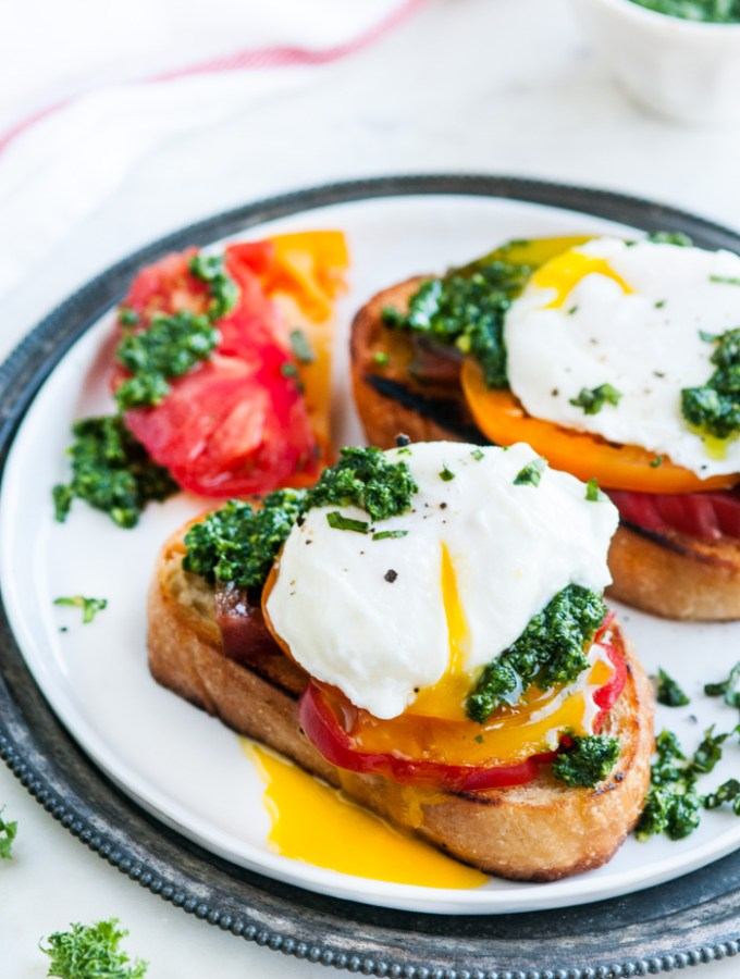Kale Basil Pesto Breakfast Toast